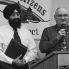 Outgoing SCCAR president Rod Lindsay, right, presents a Civil Rights and Social Justice Award to Amarjit Singh Grewal. Photo courtesy Pam Hughes.