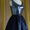 charcoal sequined top shown  with charcoal, brown and navy brocade silk skirt.