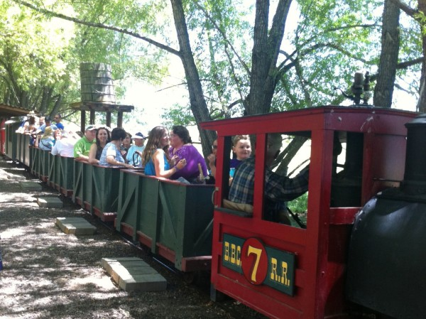 The train prepares to depart during the Friends of the Library's annual fundraiser.
