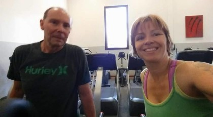 Cindy works out with her husband, who always lost more weight than she did.