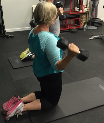 Doni working with weights at Align, July 2016.