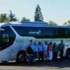 The high-tech coach is manufactured by BYD in Lancaster, California.