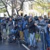 News media pack in tight during a recent press conference in Redding. Photo by Jon Lewis