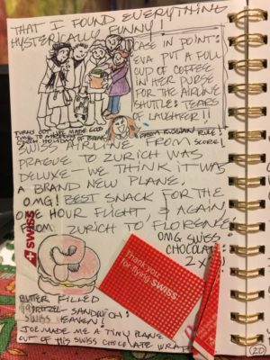 Marie's mother Eva enjoyed seeing herself depicted on the pages of Shelly's art journal.