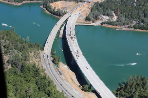 An aerial view of both bridges provided by Caltrans.