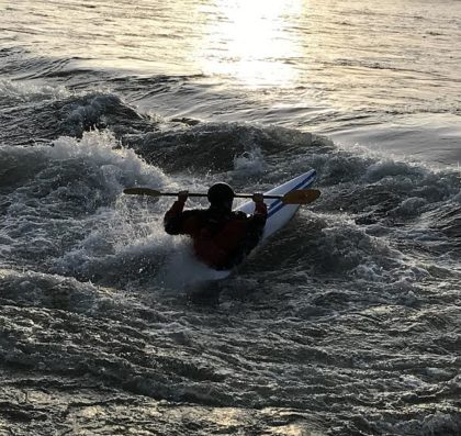 The current white water conditions on the Sacramento River near the ACID dam are not for amateurs. Photo by Jon Lewis.