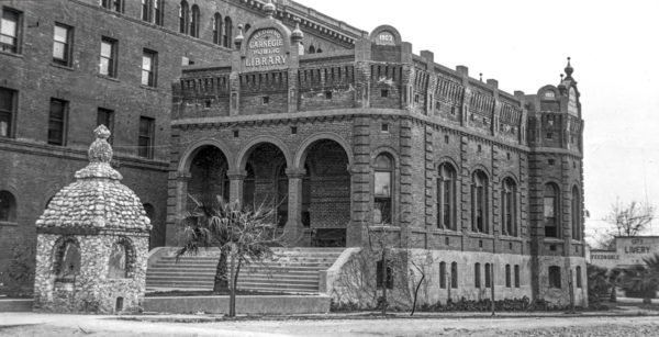 The Carnegie Library opened in 1903 and was demolished in 1965. Photo courtesy Shasta Historical Society.