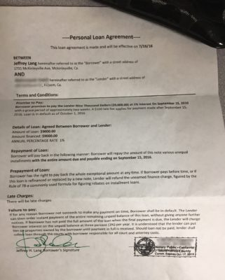 Personal loan agreement between Sacramento County Victim No. 1 and Jeffrey Lang. Notary seal in lower right corner is from Sacramento County Victim No. 2.