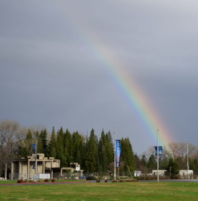 A rainbow appeared on Friday to brighten the mood.