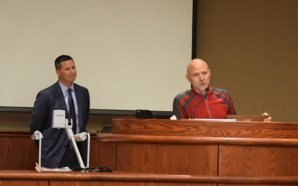 Mayor Brent Weaver, left, and Brian Sindt.