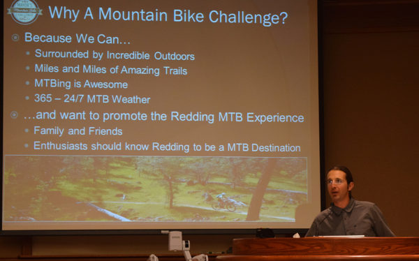 Ryan Schuppert helps unveil the Mayor's Mountain Bike Challenge.