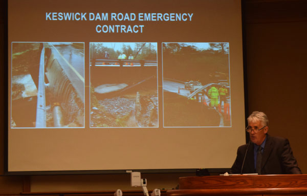 Public Works Director Brian Crane updates the council on Keswick Dam Road repairs. Photos by Jon Lewis.