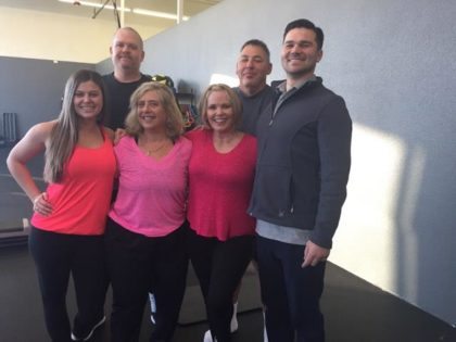 One of the workout groups at Redding's Align Private Training: From left, Laura, Erin, Diane, Doni, Westley and Matthew.