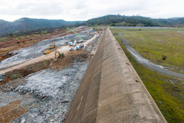 The Oroville Dam auxiliary spillway, February 19. Photo by Florence Low, courtesy of CDWR.