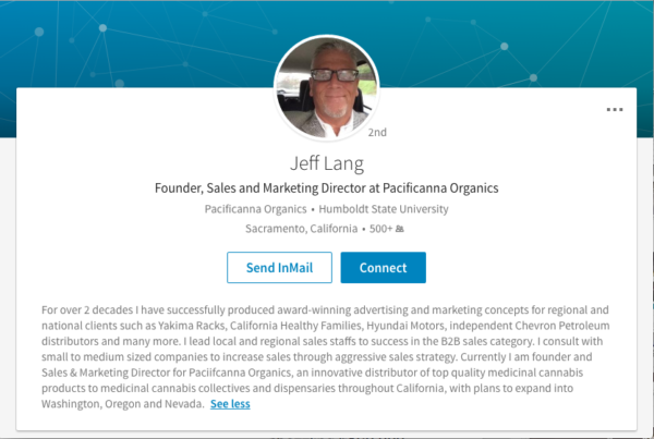 Screenshot of Jeff Lang's current LinkedIn bio page, featuring Pacificanna Organics, Lang's alleged cannabis company.