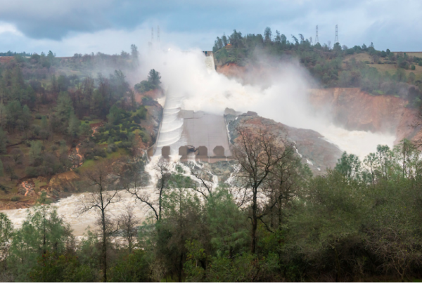 Damaged Oroville Dam spillway, February 17. By Brian Bauer, courtesy of CDWR.