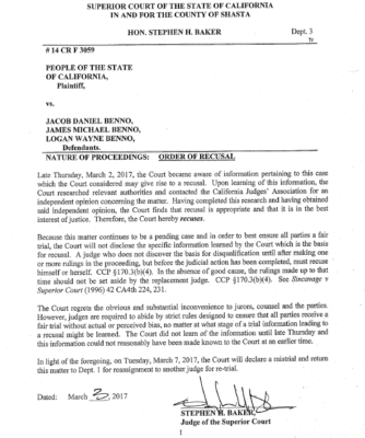 Shasta County Superior Court Judge Stephen H. Baker's notice of recusal from the Benno mistrial.