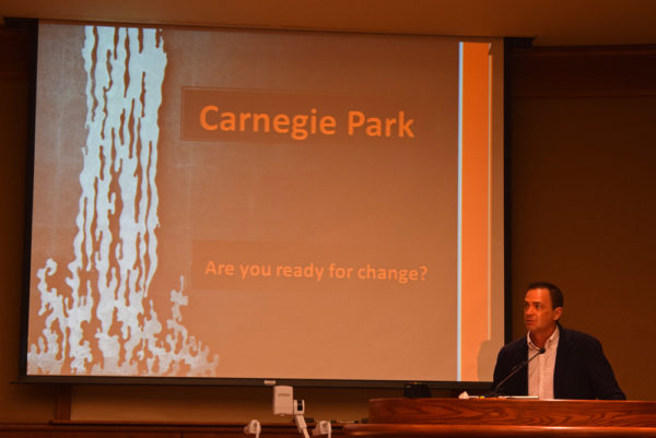 Todd Franklin outlines his food truck court plan for Carnegie Park. Photos by Jon Lewis.