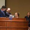 Mayor Brent Weaver, left, with Scott, Thea and Bridgit Shoffner.
