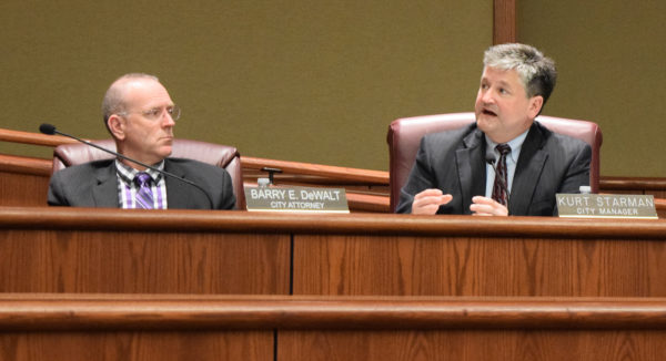 City Attorney Barry DeWalt, left, and City Manager Kurt Starman.