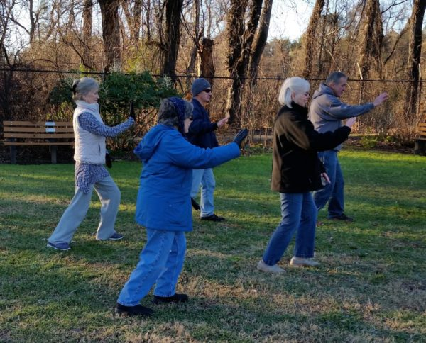 Tai chi in the McConnell Arboretum on a cold January morning.