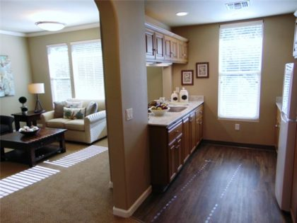 oakmont apartment kitchen and living room
