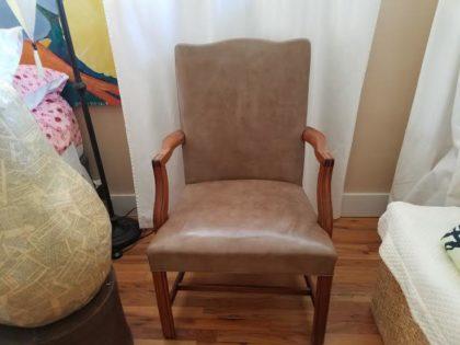 Tan wood vintage chair. 20