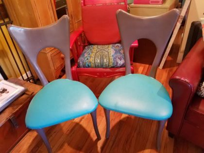 Pair of gray wood and aqua chairs. 30