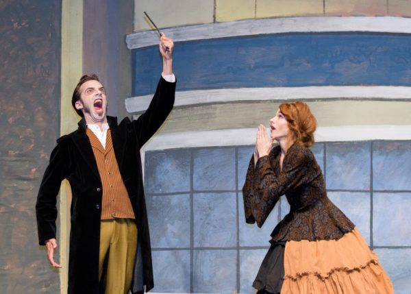 Brian Bisetti as Sweeney Todd and Jessica Cox as his crazed landlord, Mrs. Lovett.
