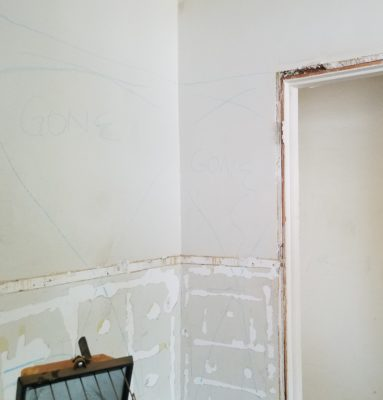 In Doni's dreams, this portion of the wall will be gone, and give a view from the kitchen to the front door.