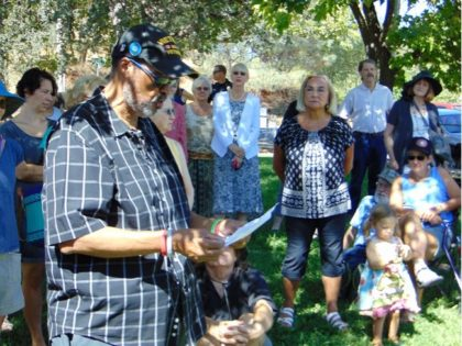 Eddie McAllister addresses the gathering hosted by Shasta County Citizens Advocating Respect Tuesday in Redding.