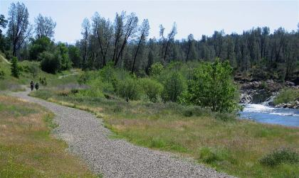 Walkers stroll along Clear Creek
