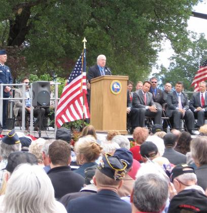 Medal of Honor recipient James Taylor addresses the crowd
