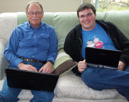 Jim Gore (left) and Joe Domke actually got to work in the same time zone recently when Joe flew from the Czech Republic to consult with Jim about the upcoming redesign.