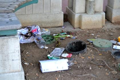 Garbage left behind. Photo by Sam Allen.