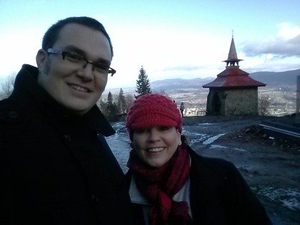 Joe and his mom, Doni Chamberlain, in the Beskydy mountains for Christmas 2014.