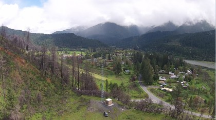 Drone's eye view of Orleans, with the Karuk Tribe's brand new broadband internet wifi tower in the foreground. The photo is by EnerTribe President Forest James, who's also a professional photographer.