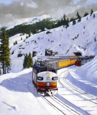 train in snow sans words