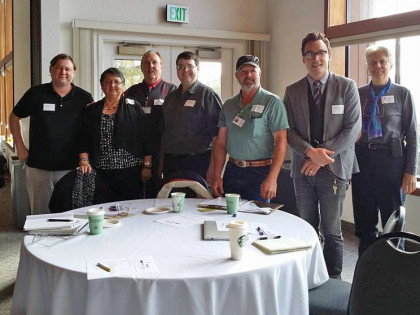 The tall guy is EnerTribe President Forest James, the lady is EnerTribe Director of Permits Penny Eckert, flanked by Eric Cutright and members of the Karuk and Yurok Tribe IT departments.