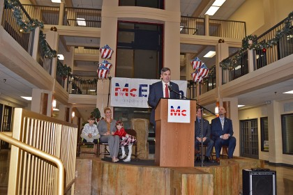 McElvain outlines his campaign during a noon rally at the Atrium in downtown Redding.