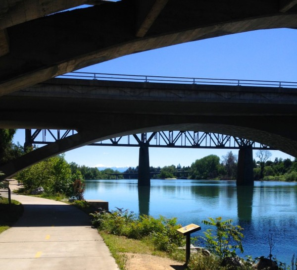 From the Sacramento River Trail, this only-in-Redding view of bridges framing Lassen Peak.