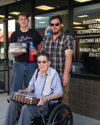 Fox Charroin, left, and brother Rex Charroin delivered their mother's treats, and Dennis Bambauer, the man who'd ordered them.