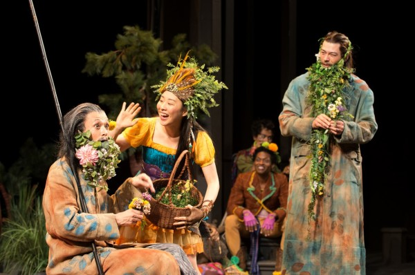 The disguised Camillo (Cristofer Jean, left) and Polixenes (James Ryen, right) are entertained by Perdita (Cindy Im) as other Bohemians (J. Cameron Barnett, Julian Remulla) enjoy the festivities. Photo by Dale Robinette, Oregon Shakespeare Festival.