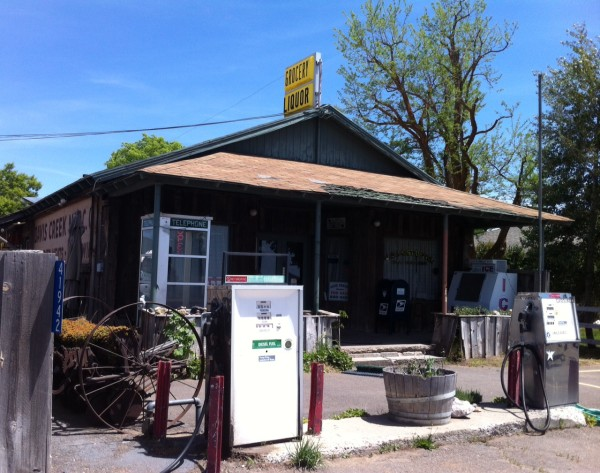 The Davis Creek Mercantile offers hot lunches and clean bathrooms. You can make a real landline phone booth call, too.