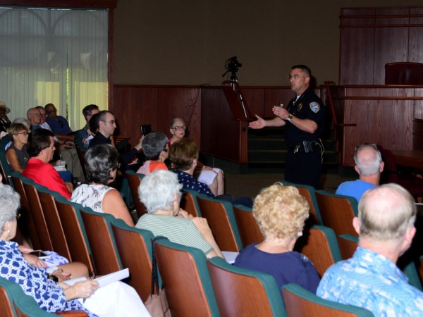 Paoletti told an audience of more than 100 that his department's plan was developed in response to a recommendation from the Redding Blueprint for Public Safety. Photo by Richard DuPertuis.