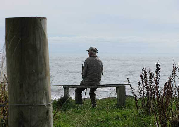 Jimmy, contemplating the sea after we had a friendly chat.