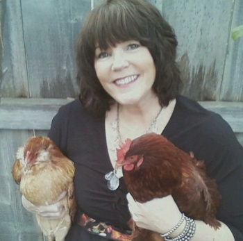 shelly with pair of chickens