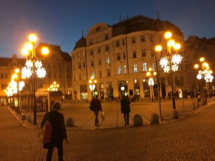The main square in Ostrava. (Can you spot Doni?) Photo by Shelly Shively.