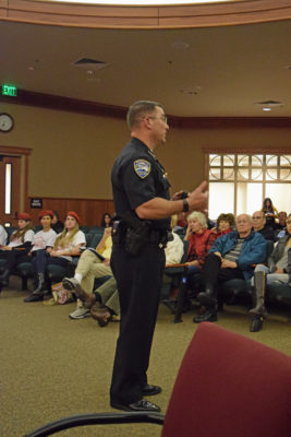 Redding Police Chief Rob Paoletti at Wednesday's town hall meeting. Photos by Jon Lewis.