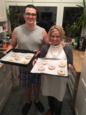 Doni and Joe make bagels in Ostrava, November, 2016.